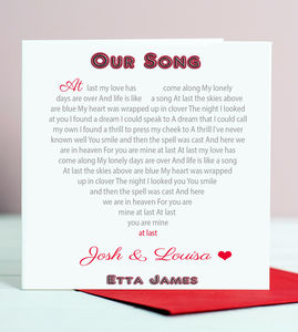 Song Lyrics Card - personalised cards