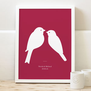 Personalised Love Birds Print - posters & prints for children