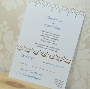 Lace Laser Cut Wedding Invitation RSVP - invitations