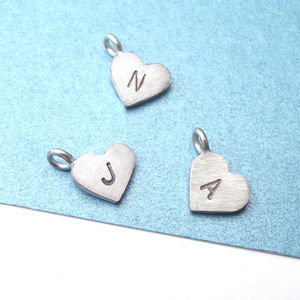 Initial Heart Charm Without Chain - necklaces & pendants