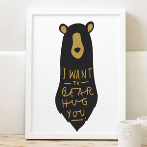 Bear Hug Print - children's bedroom