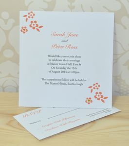 Flower Wedding Invitation And RSVP - wedding stationery