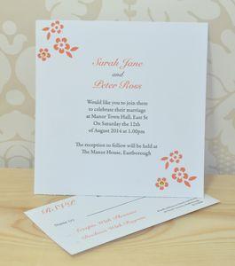 Flower Wedding Invitation And RSVP - wedding stationery