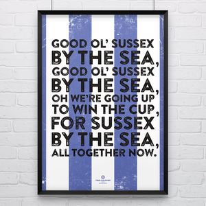 Brighton And Hove Albion 'Sussex' Football Song Print - posters & prints