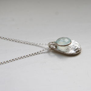 Chalcedony And Sterling Silver Charm Necklace