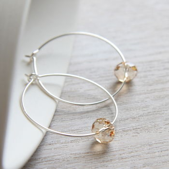 Hoops Made With Swarovski Crystals In Golden Shade