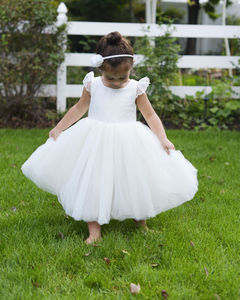 Pure Silk And Tulle Flower Girl Dress With Sleeves - for children