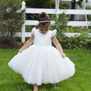 Pure Silk And Tulle Flower Girl Dress With Sleeves