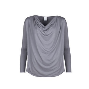 Cowl Neck Drapey Top In Dove Grey - tops