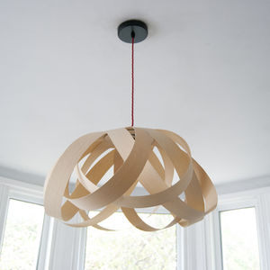 Wooden Daisy Pendant Lampshade - bedroom