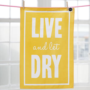 'Live And Let Dry' Movie Buff Tea Towel - kitchen linen
