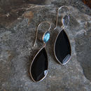 Silver Black Onyx And Labradorite Drop Earrings