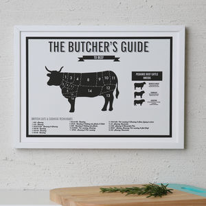 Butcher's Beef Meat Cuts Kitchen Infographic Print - posters & prints