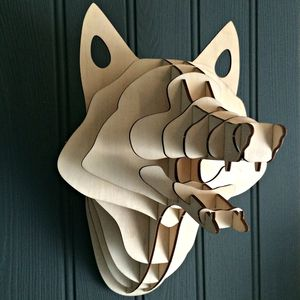 Laser Cut Wooden Forest Fox Head Kit - art & pictures