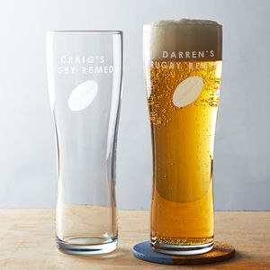 Personalised Rugby Pint Glass - gifts for him