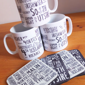 Shipping Forecast Typography Mug And Coasters - placemats & coasters