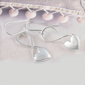 Full Heart Silver Infinity Earrings - for children