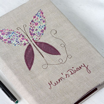 Personalised 2015 Diary Butterfly On Vintage Linen