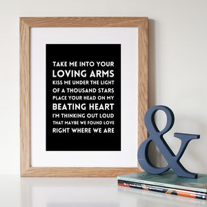 'Thinking Out Loud' Song Lyric Print - home accessories