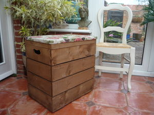 Vintage Style Double Crate Seat With One Inch Cushion - boxes, trunks & crates