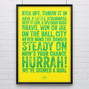 Norwich City 'On The Ball' Football Song Print