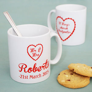 Personalised Mr And Mrs Heart Mugs