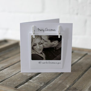 Personalised Peg Photo Love Message Christmas Card - cards