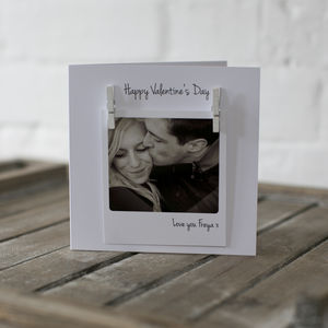 Personalised Polaroid Photo Peg Valentines Card - wedding, engagement & anniversary cards