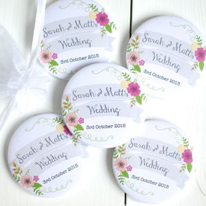 Personalised Pocket Mirror Wedding Favour - summer wedding