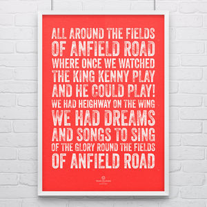 Liverpool 'Fields Of Anfield' Football Song Print - posters & prints