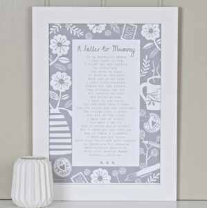 'A Letter To Mummy' Poem Print