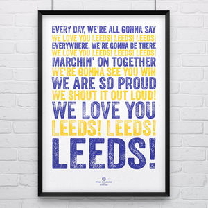 Leeds United 'We Love You' Song Print Poster - posters & prints