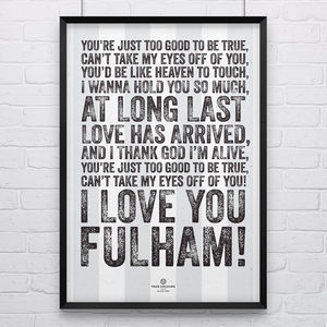 Fulham 'I Love You' Football Song Print - posters & prints