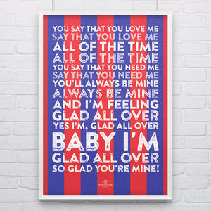 Crystal Palace 'Glad All Over' Football Song Print