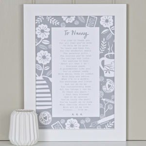 'A Letter To Grandmother' Poem Print
