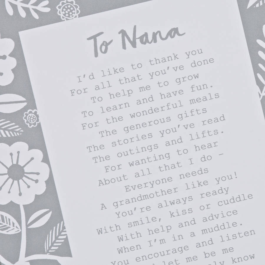 A Letter To Grandmother Poem Print By Bespoke Verse