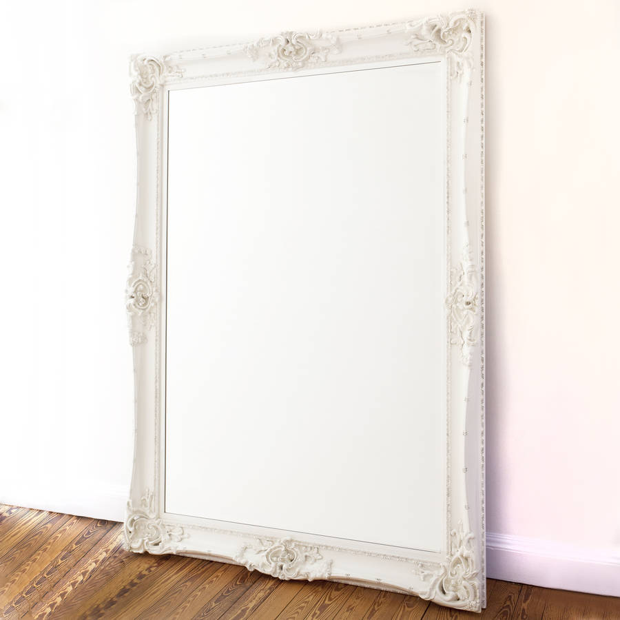 Elaborate white mirror by decorative mirrors online for Fancy white mirror