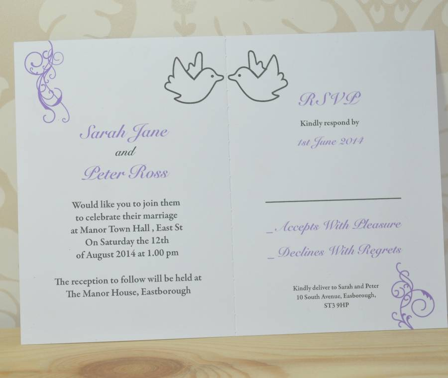Dove And Swirl Wedding Invitation And Rsvp By Sweet Pea Design