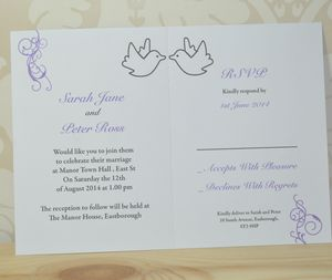 Dove And Swirl Wedding Invitation And RSVP - wedding stationery