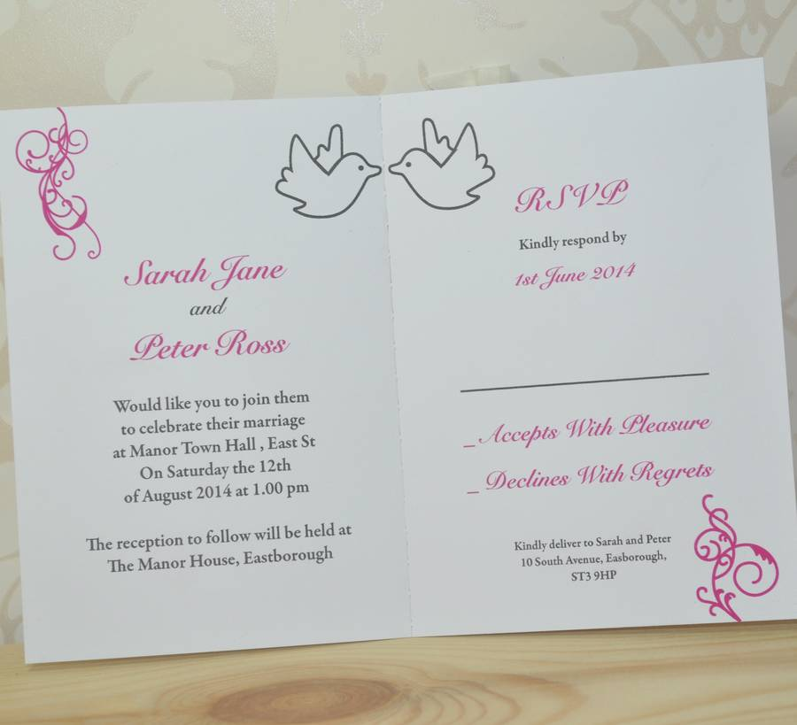 Dove And Swirl Wedding Invitation And Rsvp By Sweet Pea