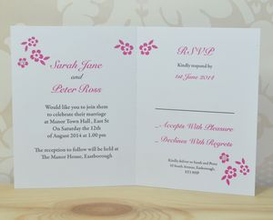 Flower Wedding Invitation And Perforated RSVP - wedding stationery