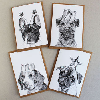 Pack Of Four Celebration Dogs Cards