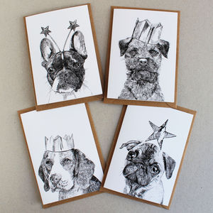 'Pack Of Four Celebration Dogs Cards' - cards & wrap