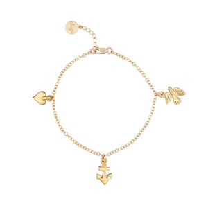 18k Gold Plated Love Faith Hope Bracelet