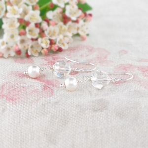 Crystal, Pearl And Sterling Silver Earrings - for children