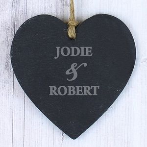 Couple Wedding Anniversary Personalised Heart Slate - room decorations