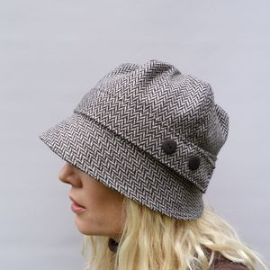 Herringbone Tweed Cloche Hat