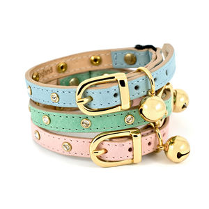 Crystal Leather Cat Collar - pet collars