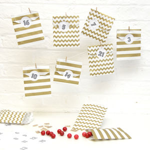 Advent Calendar Gold Paper Bag Kit - advent calendars