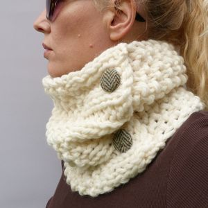 Handknitted Neutrals Chunky Cowl Scarf - hats, scarves & gloves